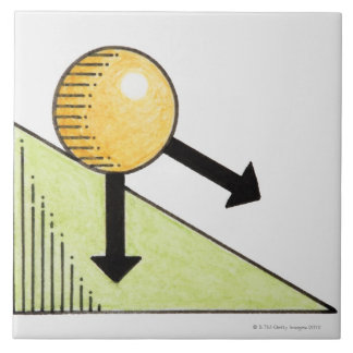 Illustration of ball moving down a slope, arrows large square tile