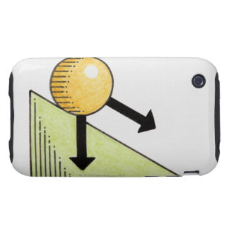 Illustration of ball moving down a slope, arrows tough iPhone 3 case
