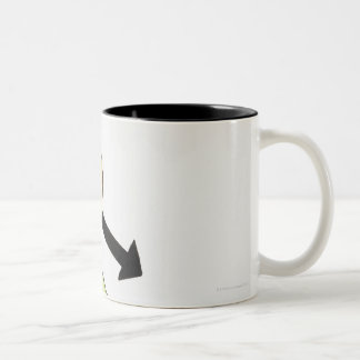 Illustration of ball moving down a slope, arrows Two-Tone coffee mug