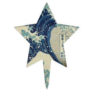 Illustration of blue japanese wave cake topper