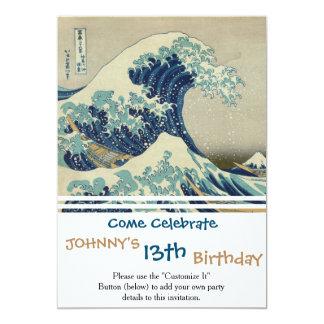 Illustration of blue japanese wave card