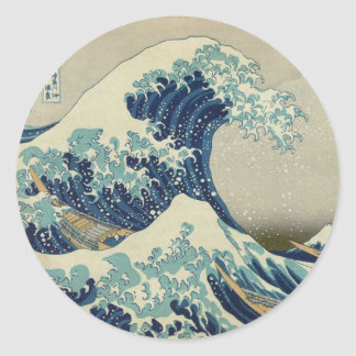 Illustration of blue japanese wave classic round sticker