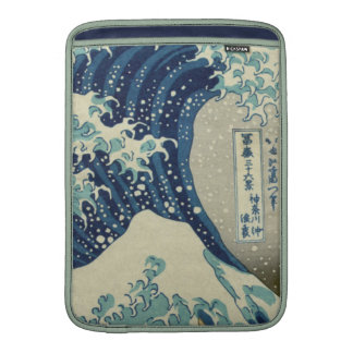 Illustration of blue japanese wave sleeve for MacBook air