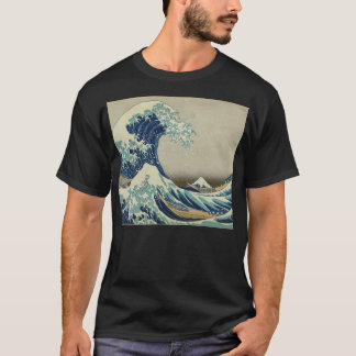 Illustration of blue japanese wave T-Shirt