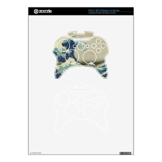 Illustration of blue japanese wave xbox 360 controller decal