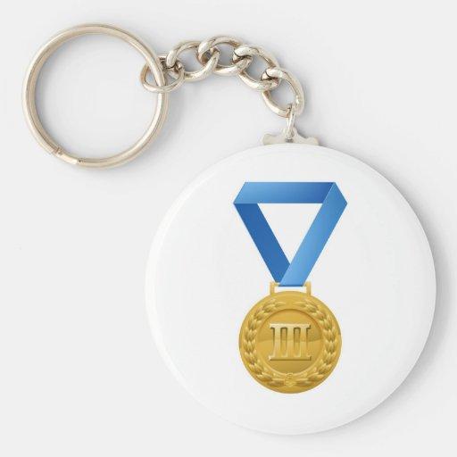 Illustration of bronze medal basic round button keychain