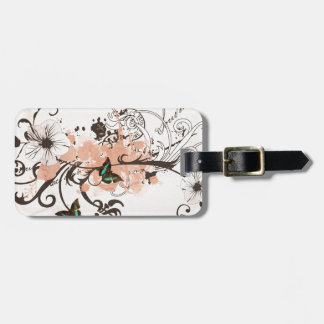 Illustration of butterflies and grungy patterns bag tag