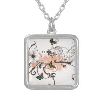 Illustration of butterflies and grungy patterns silver plated necklace