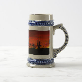 Illustration of cactus tree when the sunset beer stein