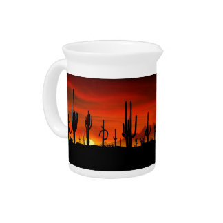 Illustration of cactus tree when the sunset beverage pitcher