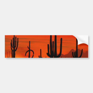 Illustration of cactus tree when the sunset bumper sticker