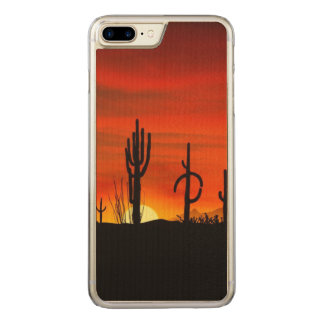 Illustration of cactus tree when the sunset carved iPhone 7 plus case