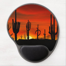 Illustration of cactus tree when the sunset gel mouse pad