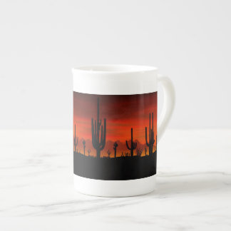 Illustration of cactus tree when the sunset tea cup