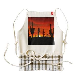 Illustration of cactus tree when the sunset zazzle HEART apron