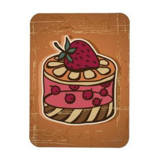 Illustration of cake in retro style rectangular photo magnet