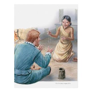 Illustration of Captain John Smith and Postcard