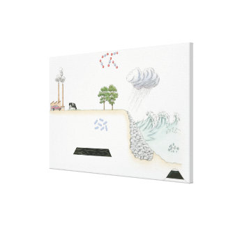 Illustration of carbon cycle on Earth Canvas Print