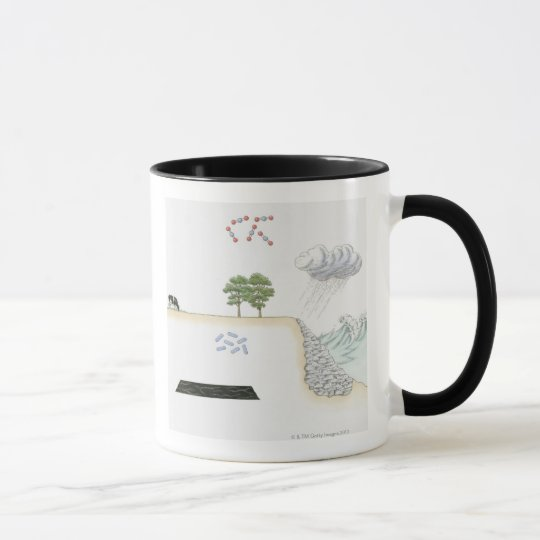 Illustration of carbon cycle on Earth Mug