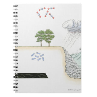 Illustration of carbon cycle on Earth Spiral Notebooks