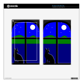 Illustration of cat in window at night. kindle fire skin