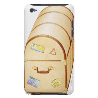 Illustration of chest with travel stickers on iPod Case-Mate case