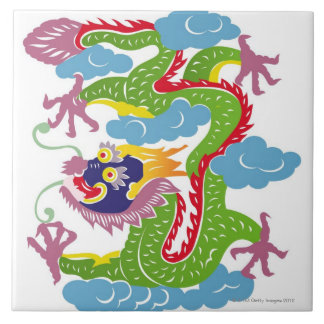 Illustration of Chinese dragon flying Ceramic Tile