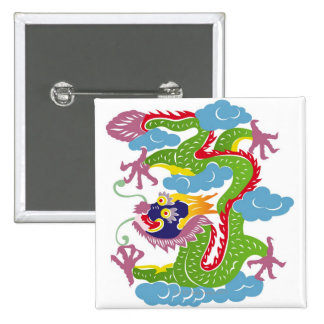 Illustration of Chinese dragon flying Pinback Button