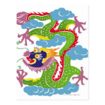 Illustration of Chinese dragon flying Postcards