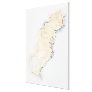 Illustration of coastline and borders from Maine Canvas Print