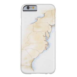 Illustration of coastline and borders from Maine Barely There iPhone 6 Case