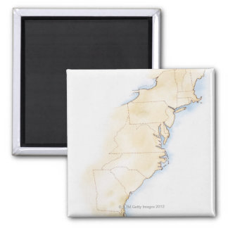 Illustration of coastline and borders from Maine Magnet