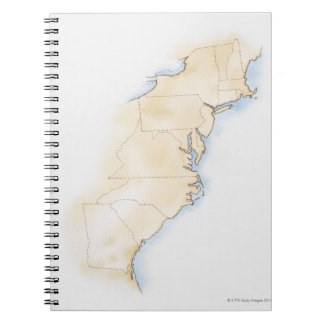Illustration of coastline and borders from Maine Notebook