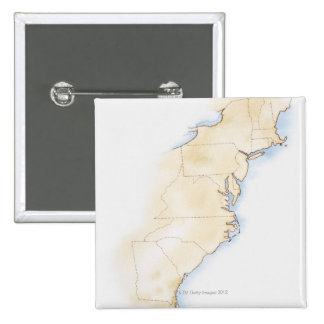 Illustration of coastline and borders from Maine Pinback Button