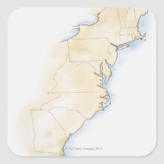 Illustration of coastline and borders from Maine Stickers