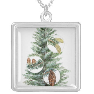 Illustration of coniferous tree with cones custom necklace