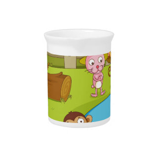 Illustration of cute animals playing drink pitcher