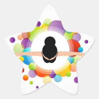 illustration of dancing ballerina star sticker