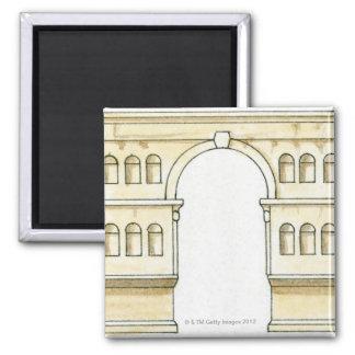 Illustration of early 4th century Arch of Janus Fridge Magnet