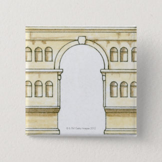 Illustration of early 4th century Arch of Janus Pinback Button