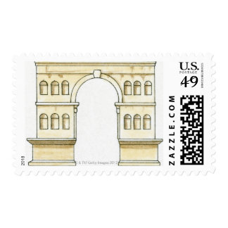 Illustration of early 4th century Arch of Janus Postage
