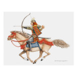 Illustration of early Samurai warrior on Postcard