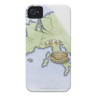 Illustration of Eiffel Tower in Paris and iPhone 4 Case-Mate Case