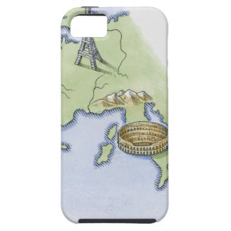 Illustration of Eiffel Tower in Paris and iPhone SE/5/5s Case