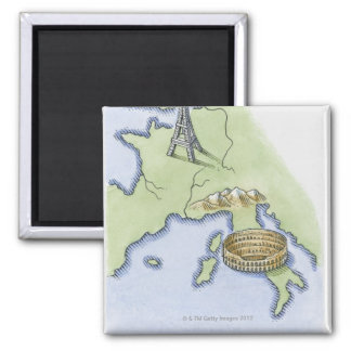 Illustration of Eiffel Tower in Paris and Refrigerator Magnet