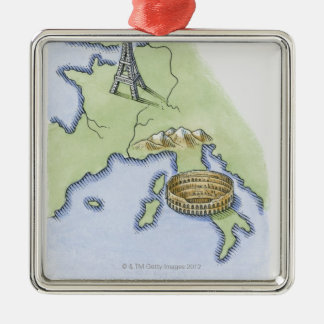 Illustration of Eiffel Tower in Paris and Metal Ornament
