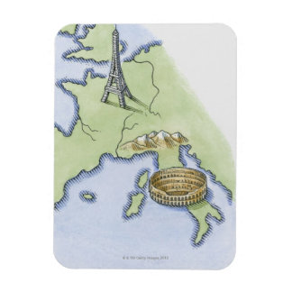 Illustration of Eiffel Tower in Paris and Magnets