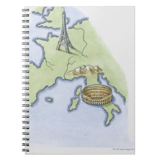 Illustration of Eiffel Tower in Paris and Spiral Notebooks