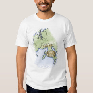 Illustration of Eiffel Tower in Paris and T Shirt