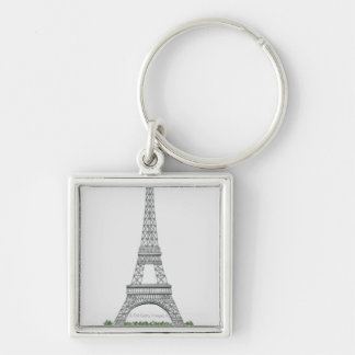 Illustration of Eiffel Tower in Paris, France. Silver-Colored Square Keychain